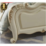 Indian Classical Style Cream Color Finish Tufted Bed