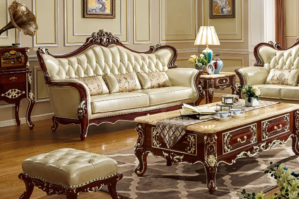 Italian Style Teak Wood Sofa Set for Living Area