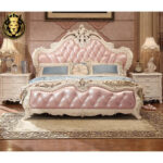 Light Pink Upholstery Solid Wood Bed