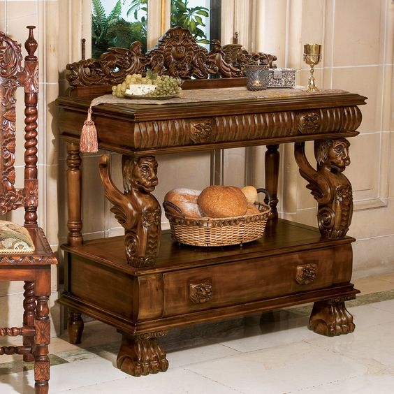 Luxury Antique Entry table hand carved Lion design by Royalzig Luxury Furniture