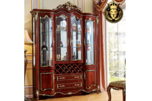 Luxury European Style Teak Wood Wine Cabinet For Home
