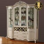Luxury European Style Teak Wood Wine Cabinet For Home