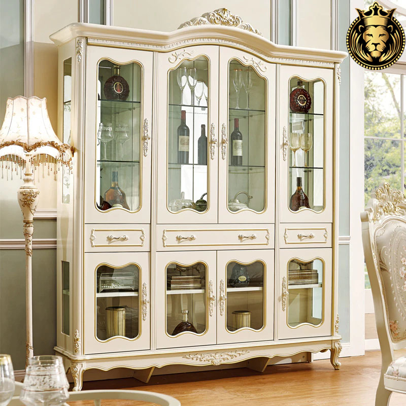Luxury European Style Teak Wood Wine Cabinet For Home with cherry finish