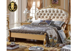 Oval Shape Headboard Golden Luxury Bed