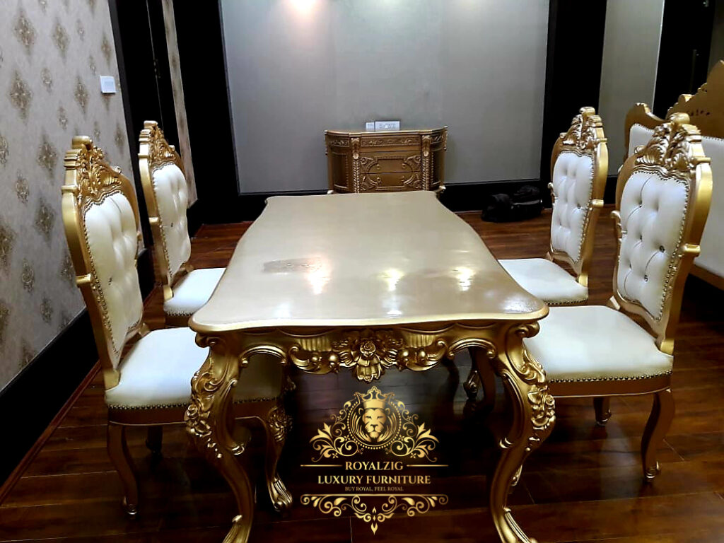 Luxury Carving immitation gold leaf Dining Table by Royalzig Luxury Furniture