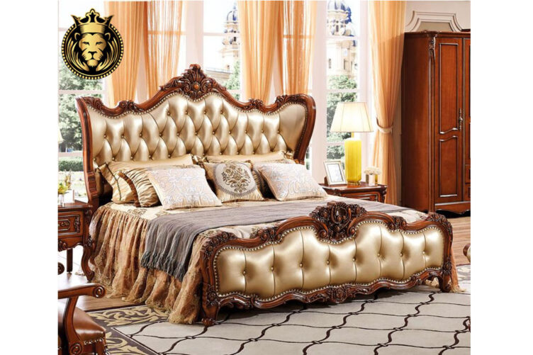 Queen Jhessy Antique Style Cherry Finish Carved Bed