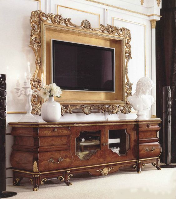 Luxury wood carving entertainment center by Brand Royalzig
