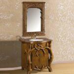 Antique Style Beautiful Tree Design Teak Wood Bathroom Vanity Set