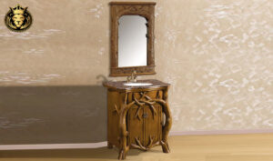 Antique Style Beautiful Tree Design Teak Wood Bathroom Vanity Set