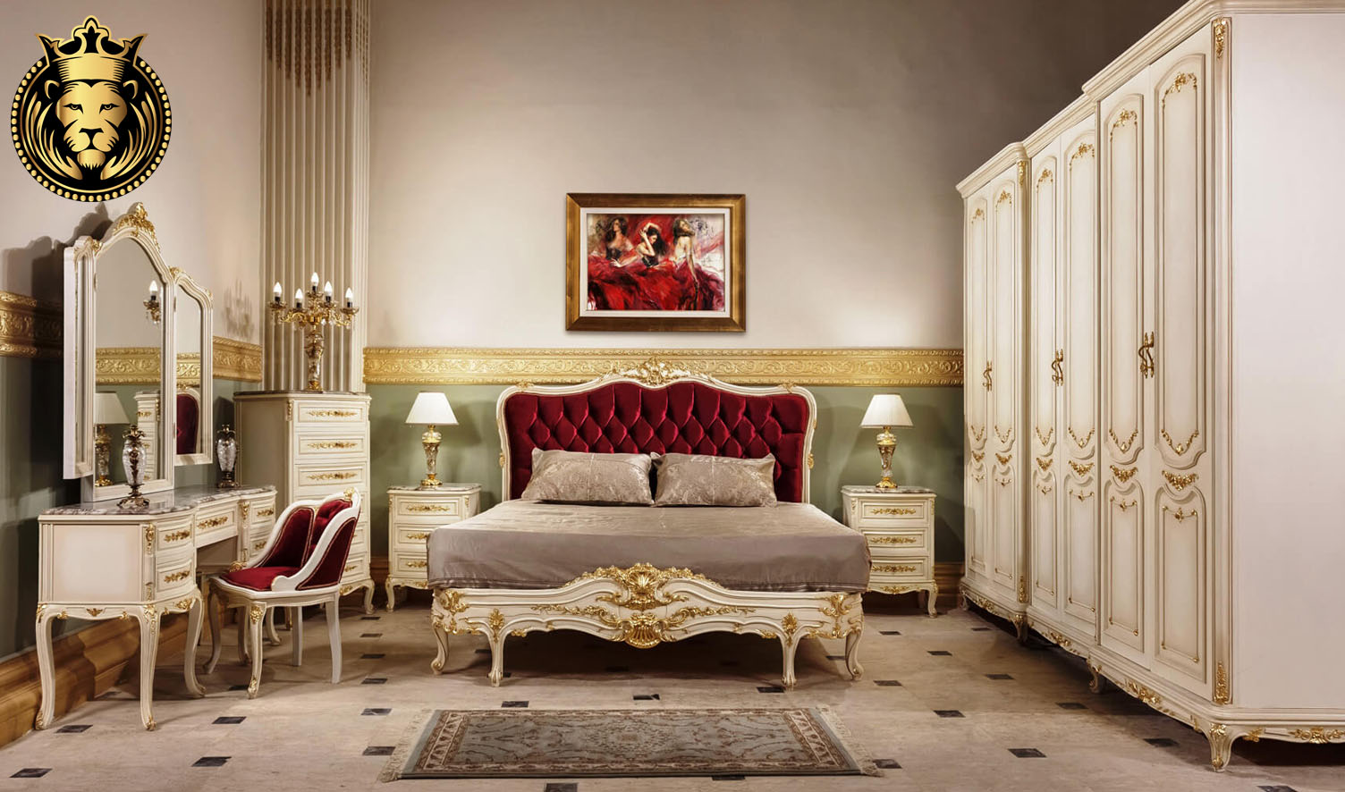 ash red velvet tufted french style bedroom furniture - royalzig
