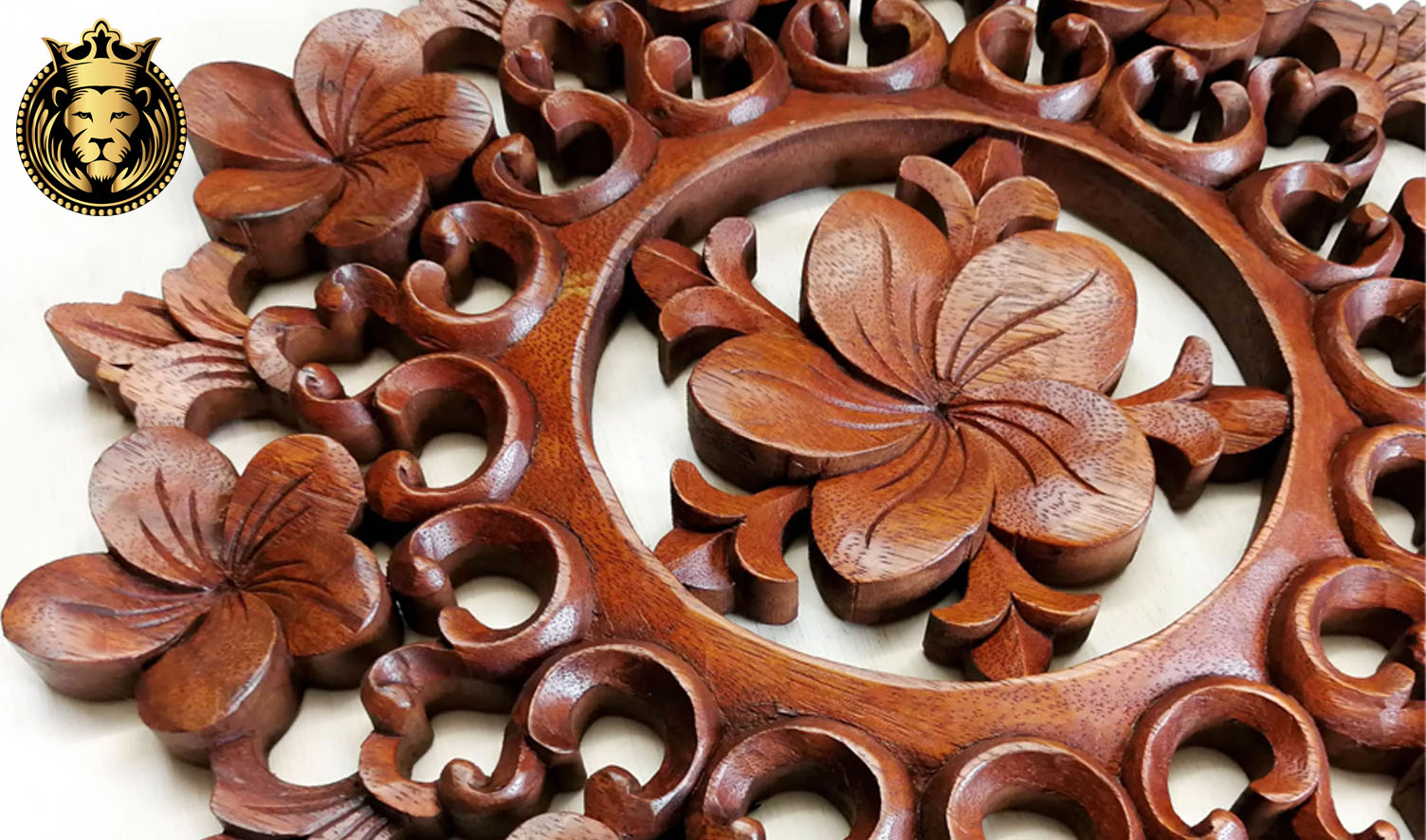 Beautiful Wooden Hand Carved Round Wall Panel