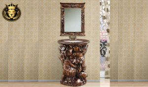 European Antique Style Hand Carved Bathroom Vanity Set