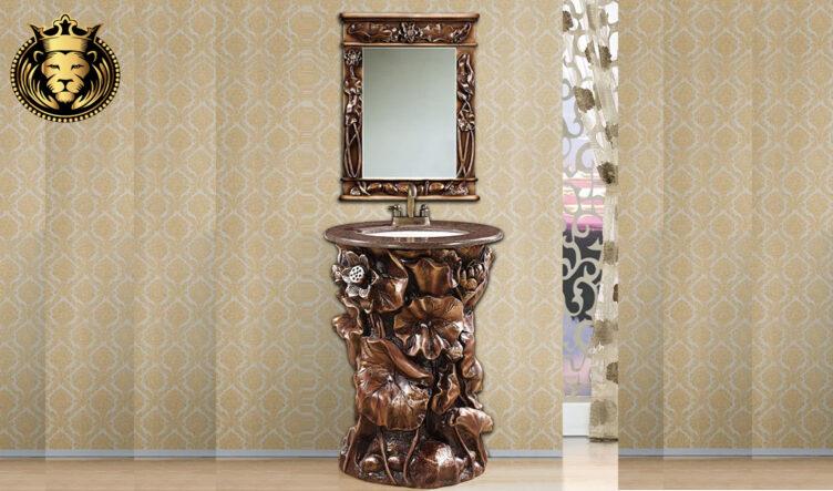 European Antique Style Hand Carved Bathroom Vanity Set