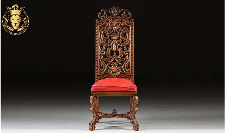European Antique Style High Back Carved Chair