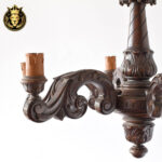 European Style Dark Walnut Finish Wooden Chandelier