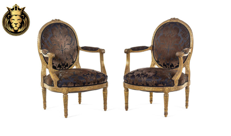 French Style Antique Gold Finish Pair of Chairs