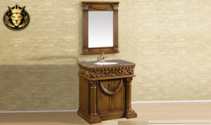 French Style Carved Bathroom Cabinet With Mirror Frame