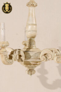 French Style Carved Cream Color Wooden Chandelier