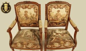 French Style Teak Wood Dark Walnut Pair of Chairs