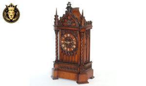 German Antique Style Teak Wood Temple Design Clock