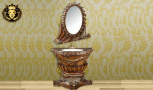 Gorgeous Antique French Style Bathroom Vanity with Mirror Frame (1)