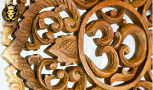 Intricate Hand Carved Natural Finish OM Wall Panel