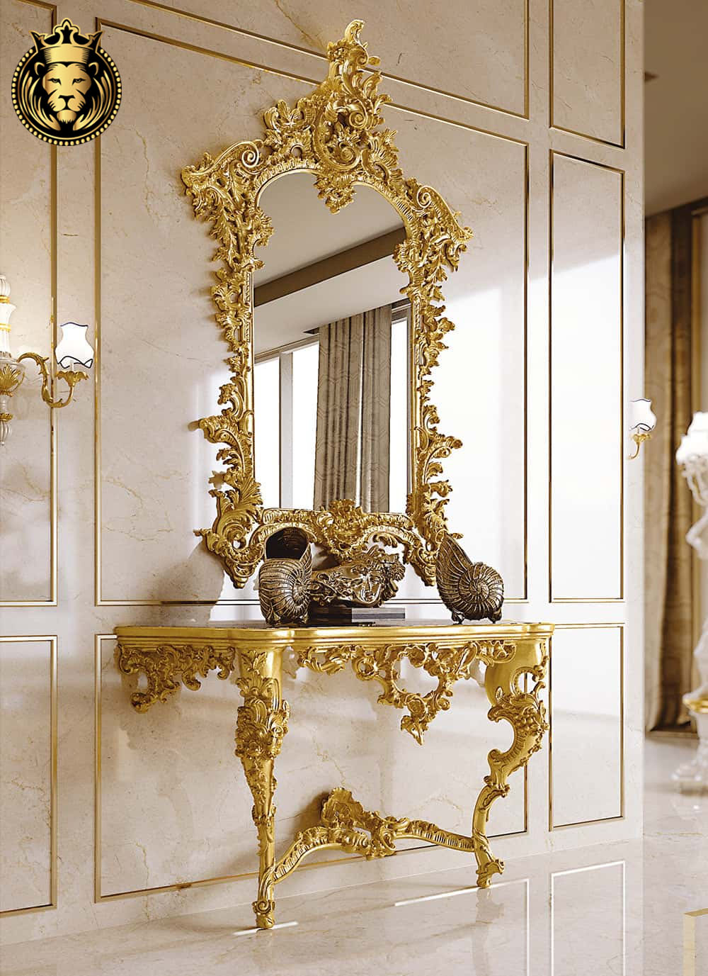 Italian Style Gold Leaf Gilding Luxury Mirror with Console