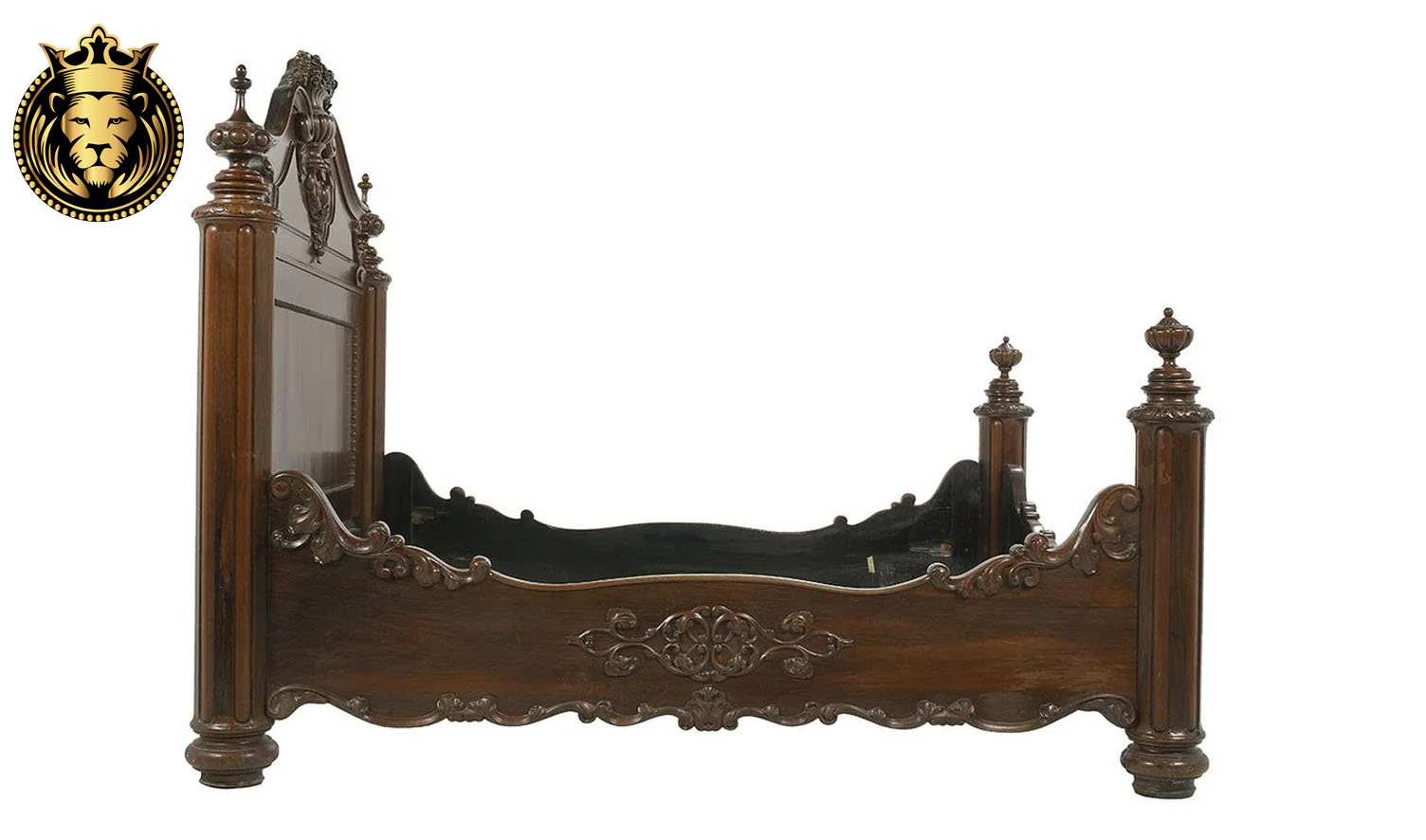 Italian Style Intricate Hand Carving Sheesham Wood Bed