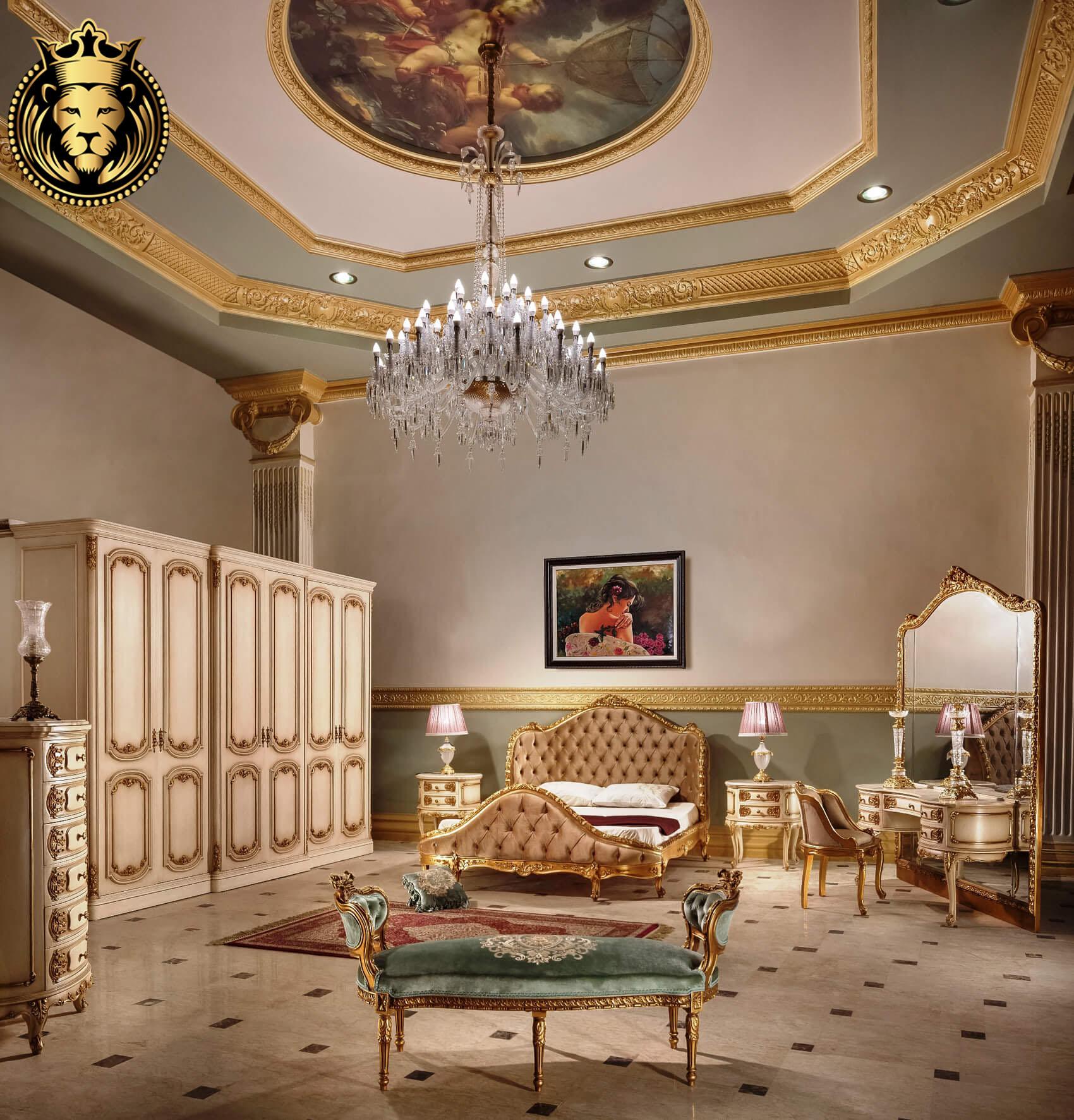 Olive French Style Carved Royal Bedroom Set