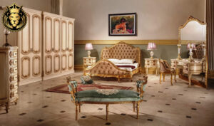 Olive French Style Carved Royal Bedroom Set