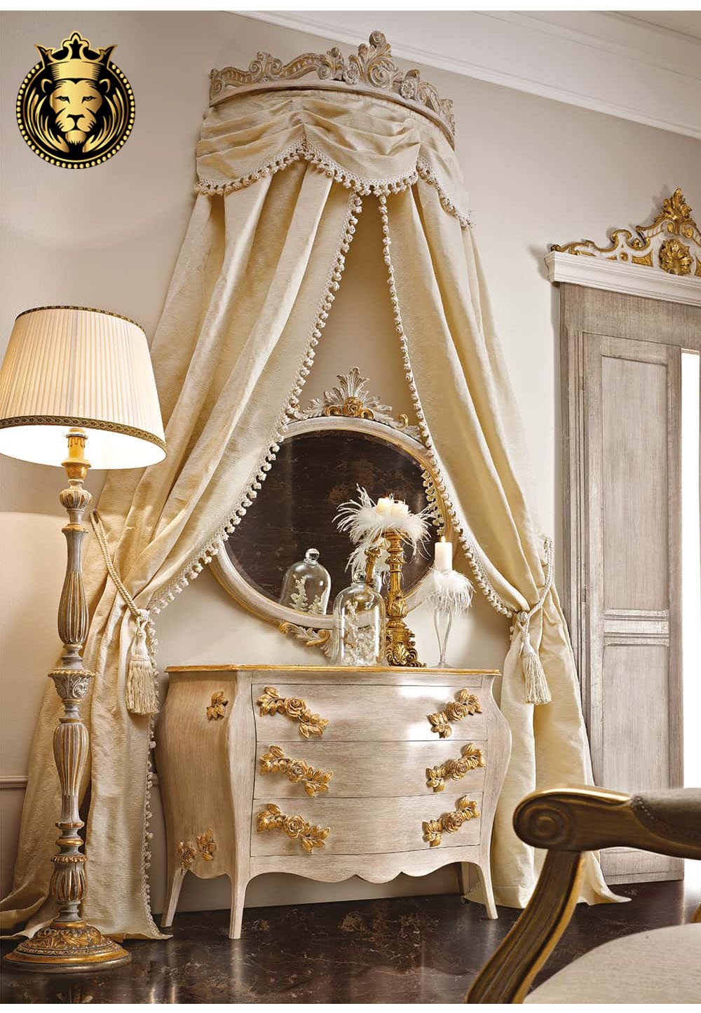 Queen Jhessy Royal White and Gold Bedroom Furniture