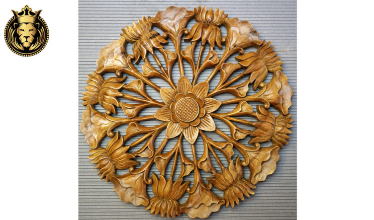 Sunflower with Lotus Design Carved Wall Panel