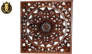 Teak Wood Hand Carved Square Wooden Wall Panel 1
