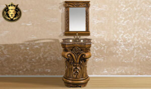 Teak Wood Natural Finish Bathroom Vanity with Mirror Frame