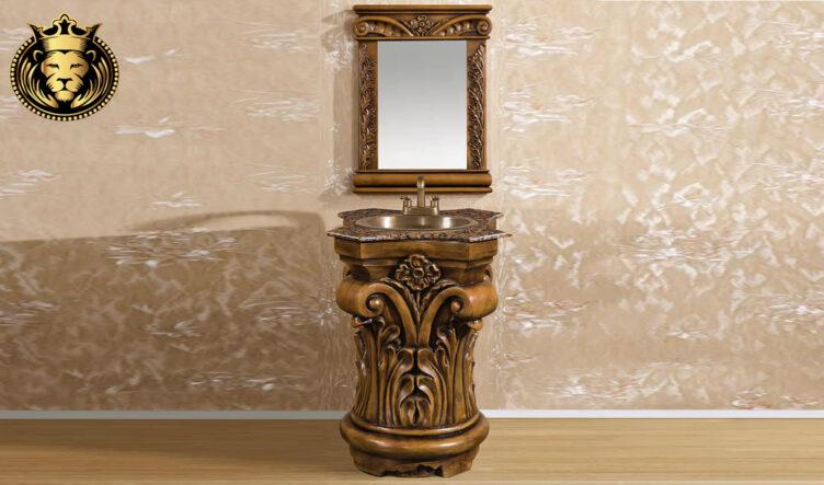 Teak Wood Natural Finish Bathroom Vanity with Mirror Frame