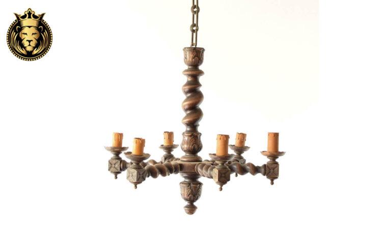 Wooden Turning Design Teak Wood Chandelier