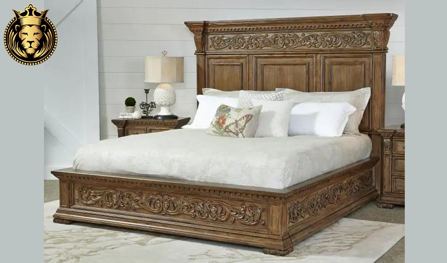 Bangalore Antique Style Hand Carved Teak Wood Bed Royalzig
