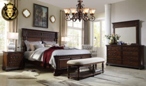 Chennai Antique Style Carved Teak Wood Bedroom Set Designs