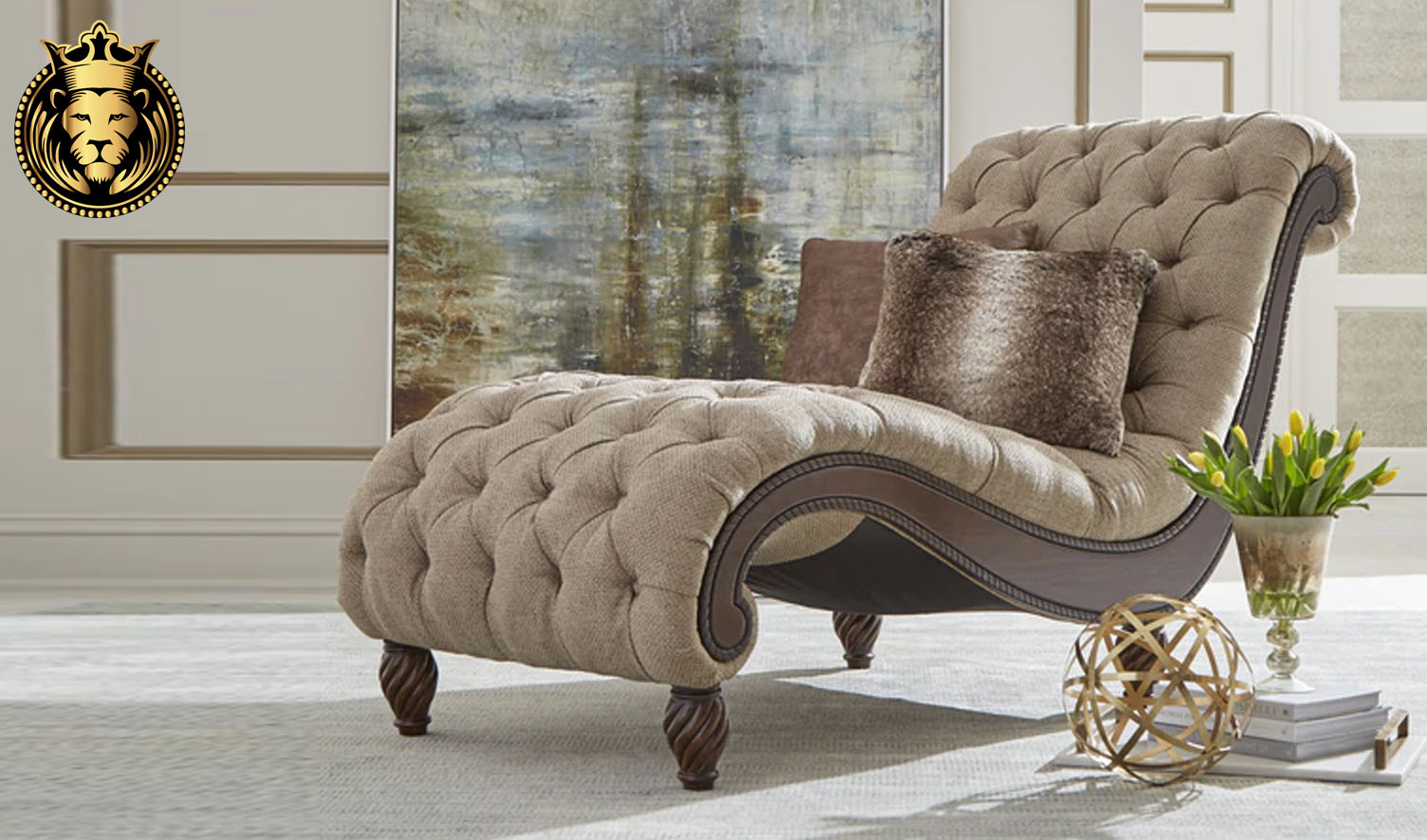 Classical Style Teak Wood Tufted Chaise Lounge