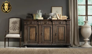 Dark Walnut Finish Teak Wood Sideboard 1