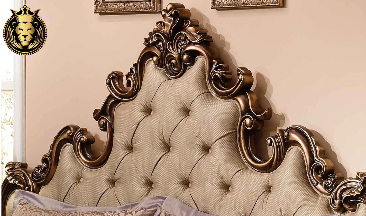 European Antique Style Carved Copper Color Bed