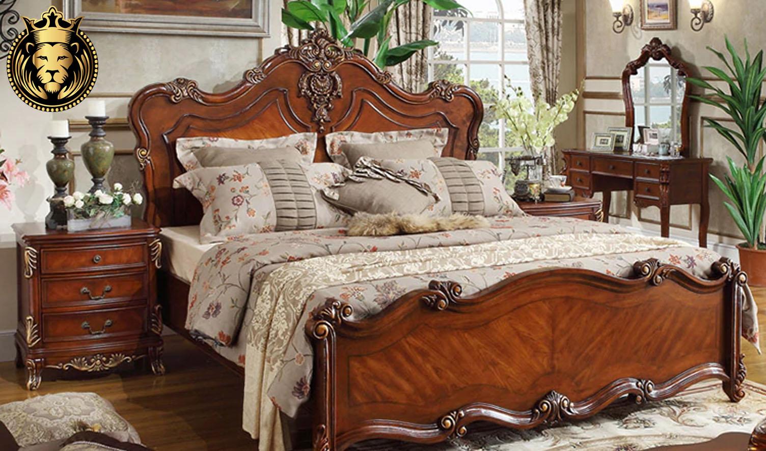 Hyderabad antique style carved teak wood bed
