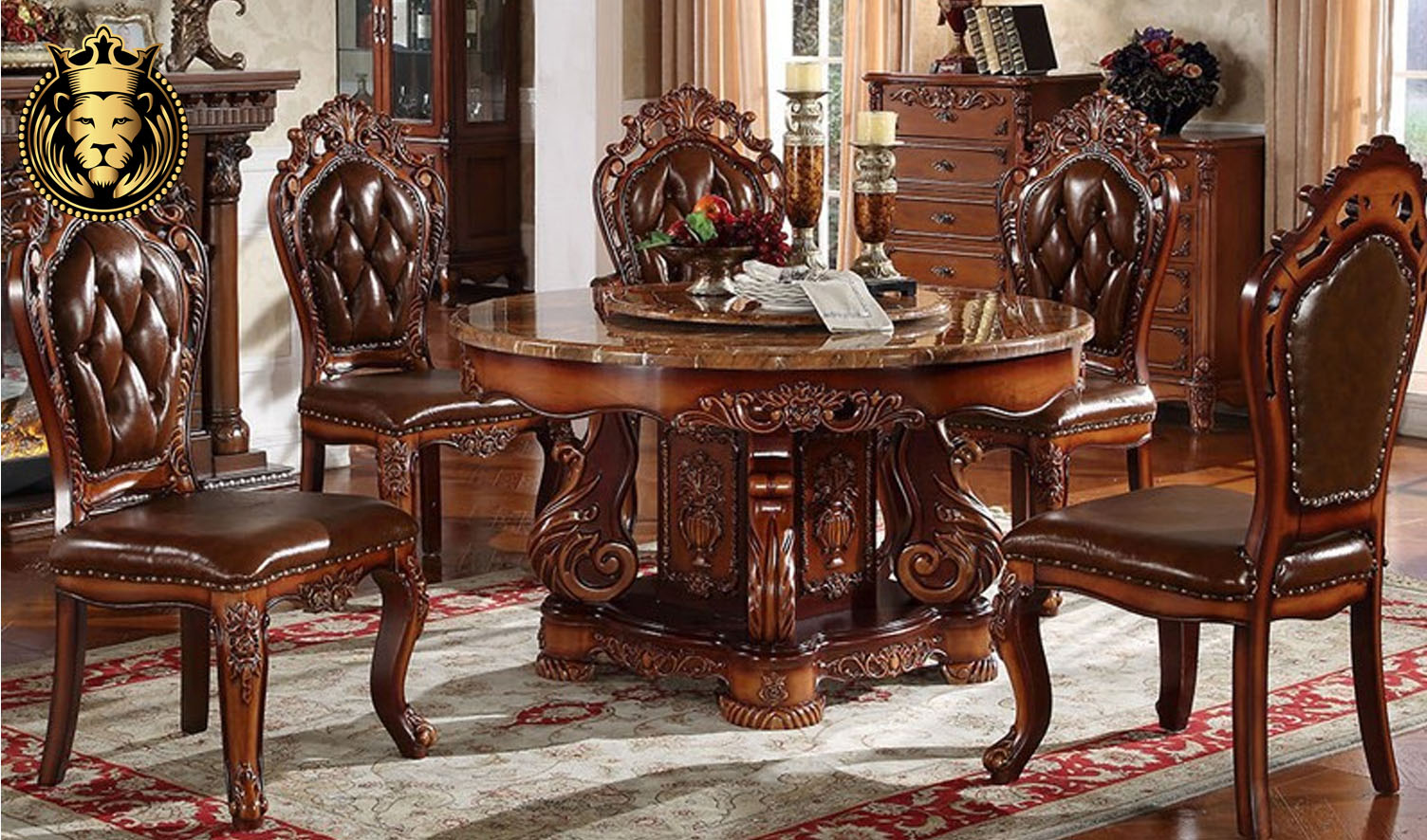 Indian Classic Style Hand Carved Round Dining Table