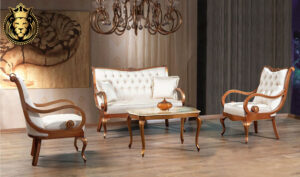 Indian Classic Style Natural Teak Wood Sofa Set
