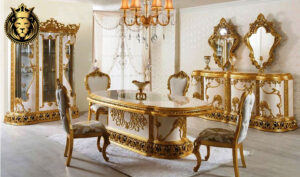 Indian Classic Style Royal Gold Leaf Dining Room Furniture