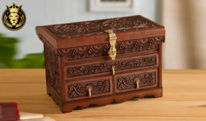 Intricate Hand Carving And Engraved Wooden Jewelry Box