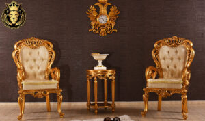 Italian Style Hand Carved Royal Golden Coffee Set
