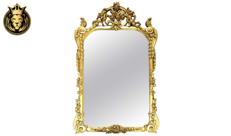 Italian Style Rose Carving Gold Leaf Mirror Frame