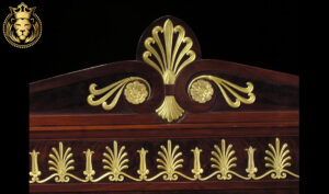 Louis XVI Style Carved Gloss Mahogany Gilt Royal Bed