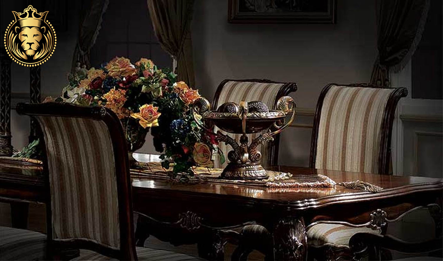 Manali Antique Style Walnut Dining Table